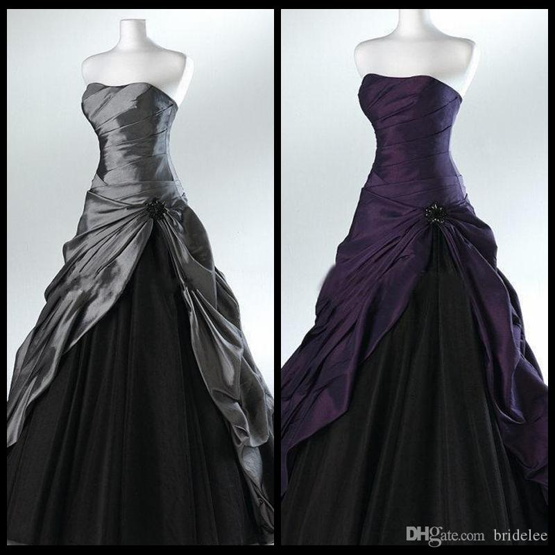 Purple And Black Ball Gown Gothic Wedding Dresses For Brides Strapless Grey Floor Length Actual Picture Bridal Gowns Vestidos De Novia 2015 Couture