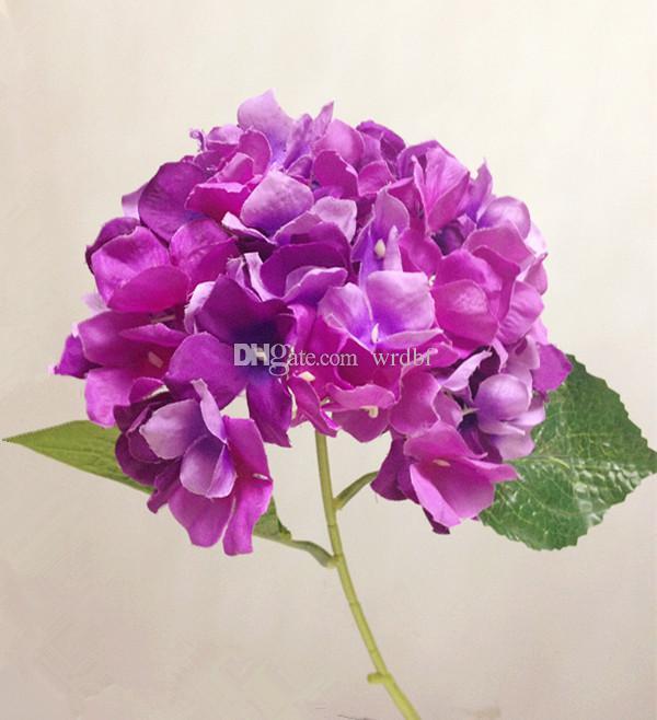 실크 수국 꽃 2015 새로운 도착 5 색 가짜 꽃 패브릭 웨딩 파티를위한 수국 꽃다발 인공 장식 꽃