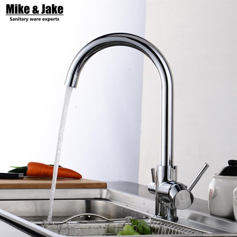 Großhandel Massivem Messing Chrom Wasser Küchenarmatur 3 Way Doppel ...