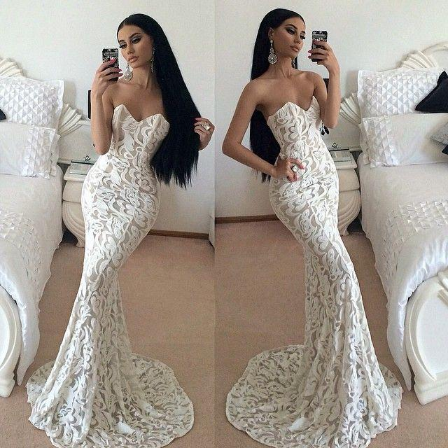 Prom dresses white lace