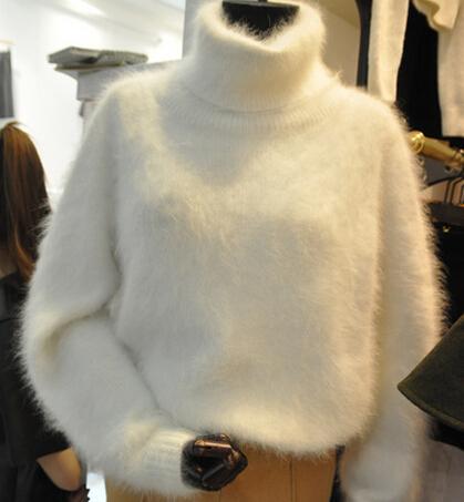 fddc5f4bcdd Acheter Vente En Gros Hiver Chaud Mink Cachemire Pull Femmes Surdimensionné  Col Roulé Chandails Tricotés Et Pulls Lâche Blanc Fuzzy Pull Manteau De   37.55 ...