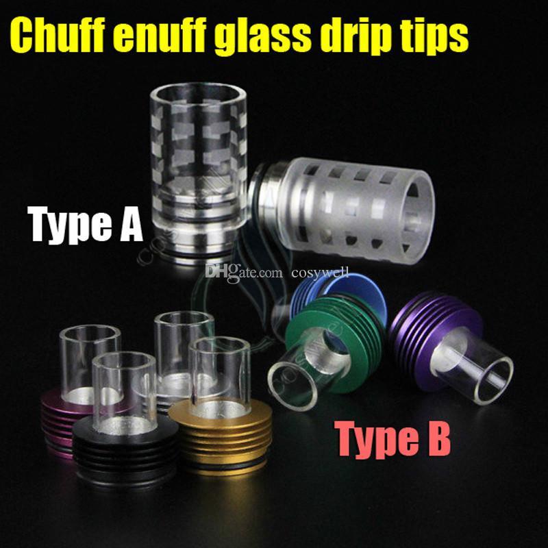 Nueva chuff enuff consejos de vidrio goteo 2 tipos llevaba gran vaporizador Pyrex POM Cap Boquilla gotero Lcdo Mephisto Enigma RDA RBA Mods atomizador punta