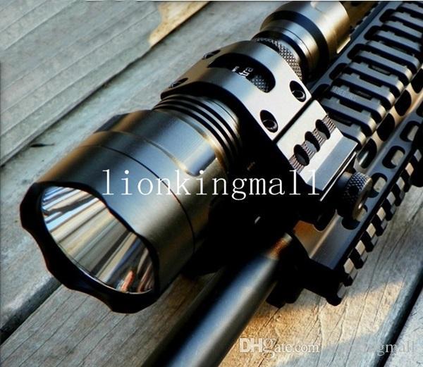USA EU Heißer Sel C8 5-Mode Cree Q5 LED Scheinwerfer Jagd Taktische Taschenlampe + Tactical mount / Fernschalter / 18650 batterie / Ladegerät /