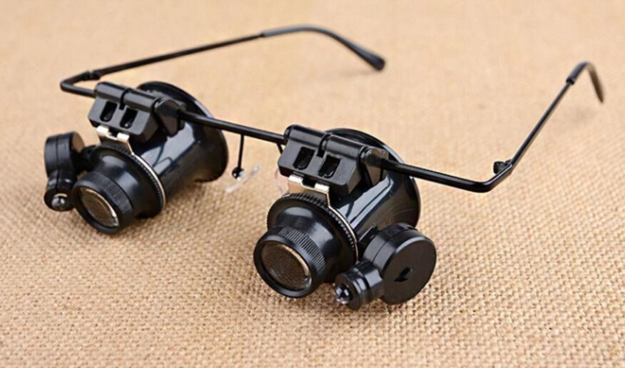 Binoculars head-mounted LED light with 20 times the magnifying glass antique clocks gem jade instrument for verifying electronic repair tool