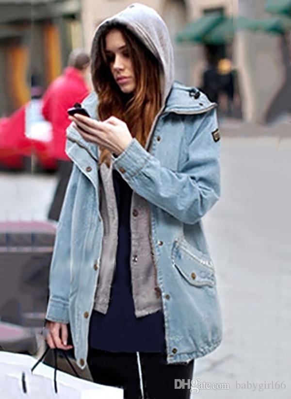 2017 hot sell Women Fall Winter Denim Polyester Long Sleeve Hooded Pockets Bomber & Moto Coats Removable jacket