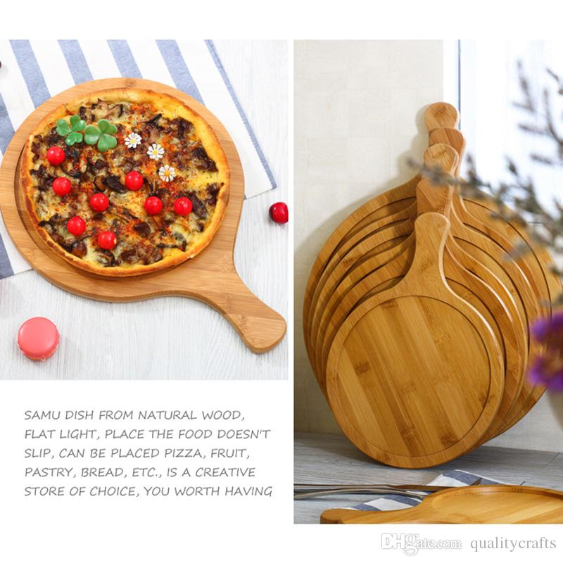 Wooden Round Board 7 11 Inch Pallets Handled Cutting Oven Wood Tray Kitchen Baking Platter Cake Bakeware Tools Chopping Blocks