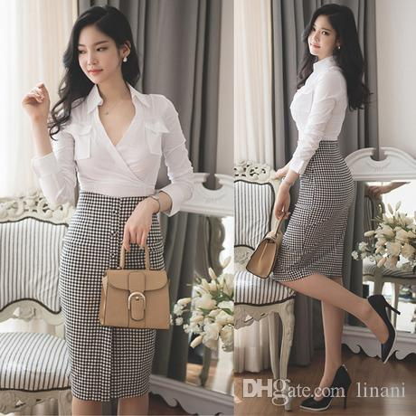 Bandage Plaid Skirt And Blouse Sets Women Sexy Crop Top And Skirt Set Ladies Pencil Skirt Suits