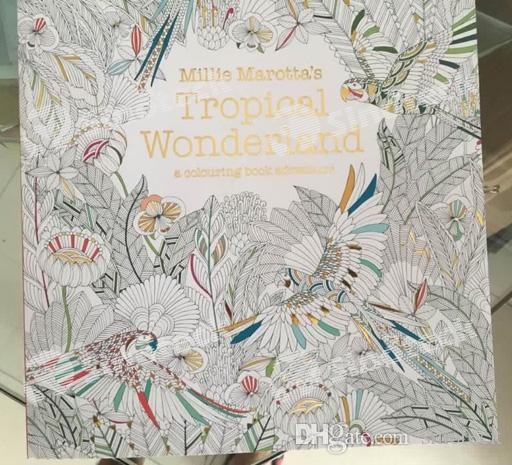 Tropical Wonderland Secret Garden Colouring Book Adult Kids Creative Therapy Drawing Books Thread Binding Gold Plated Cover Free Dhl