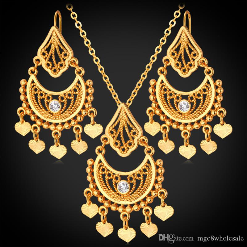 2018 U7 Gold Plated Indian Jewelry Set For Women Platinum/18k Real Gold Plated Rhinestone Vintage Heart Tassel Necklace Earrings Set From Mgc8wholesale ... : gold plated indian jewelry sets - pezcame.com