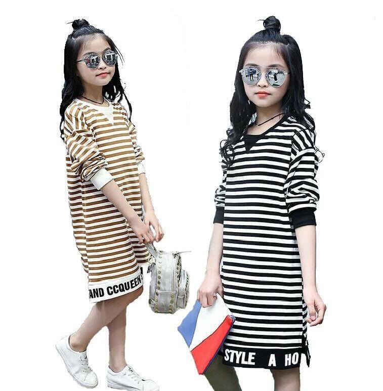 Großhandel Prinzessin Kleidung Baumwolle Kinder Striped Party T ...