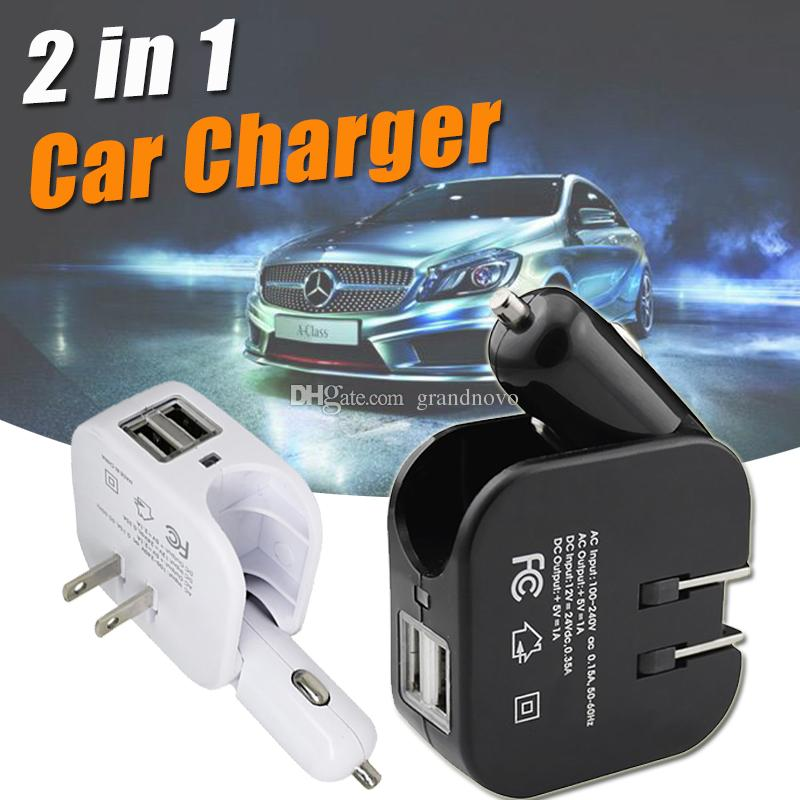 2 In 1 Car Home Travel Wall Charger Dual USB Port Power Adapter Foldable US Plug Universal For IPhone Samsung