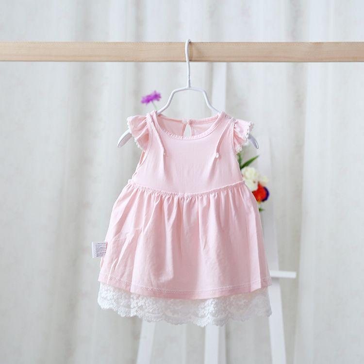 2018 été usure nouvelle tutu infantile robe princesse style net fil fleurs fleurs broderie bébé robe bowknot mouche manche petites filles costume costume ab2071