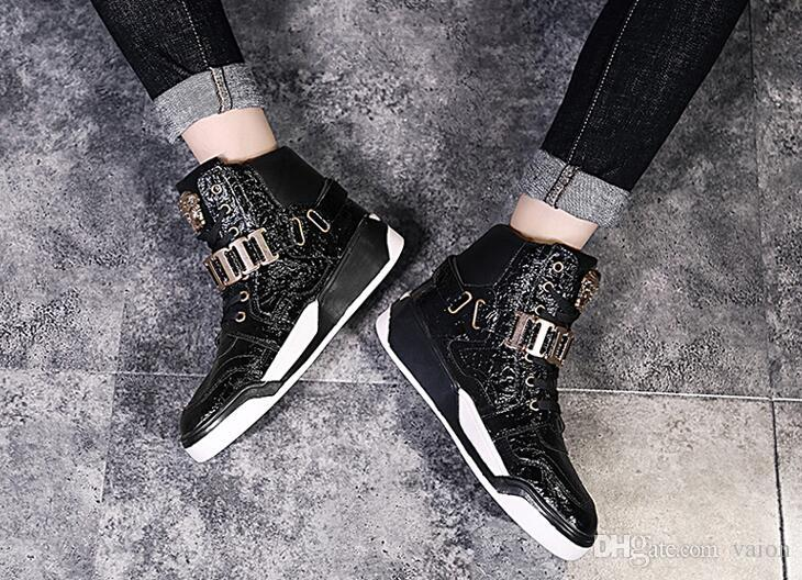 winter stree fashion men high top lace-up shoes Metal belt buckle Hip hop trend skateboard dance Sport shoes for male man AA532