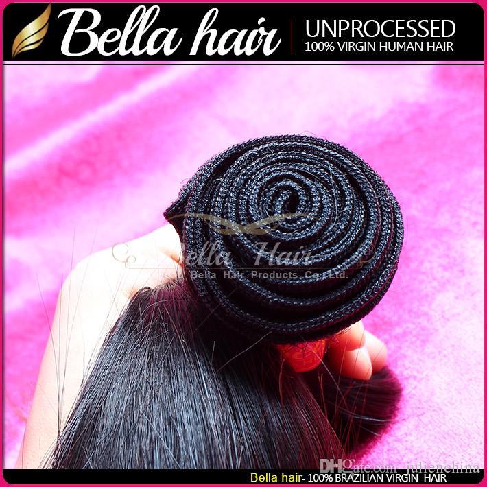 Pacotes de cabelo retos de seda dupla trama 100% Extensão indiana não processada Virgem tece cor natural 8-30 Bella