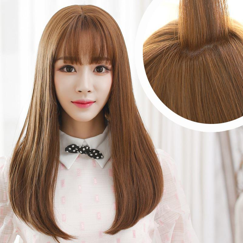 Korean Air Bangs Wig Female Long Hair Pear Head Volume
