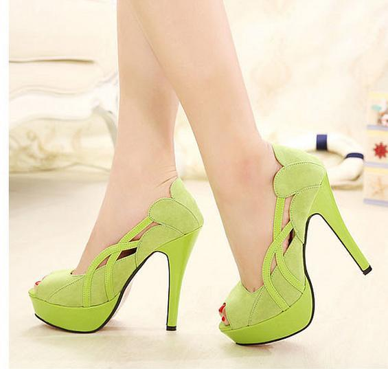 Chic hollow out red sole green pumps platform shoes sexy high heels wedding shoes size 35 to 39