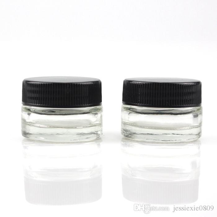 Envase de vidrio antiadherente de grado alimenticio Envase de aceite de cera de 5 ml con tapa negra Contenedor de concentrado de hierba seca Dabber Cigarrillos E cigarrillos
