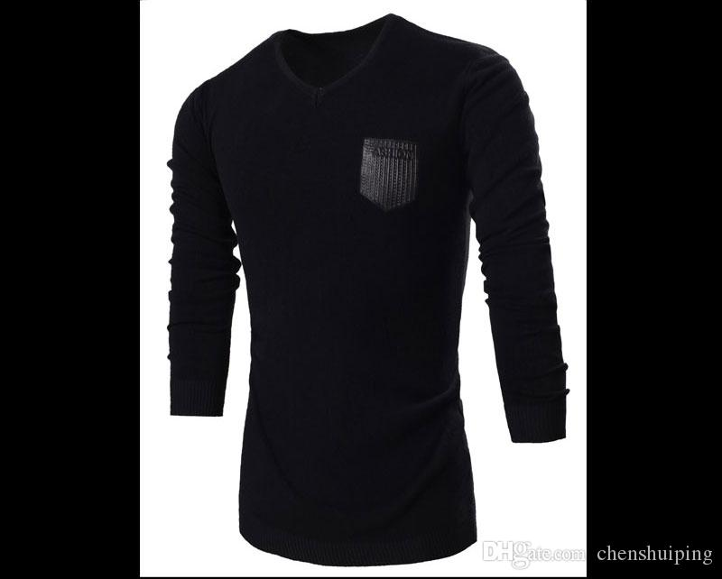 Envío gratis Los nuevos hombres de la marca V cuello manga larga Cashmere polo suéteres prendas de punto diseñador de moda, camisetas suéteres