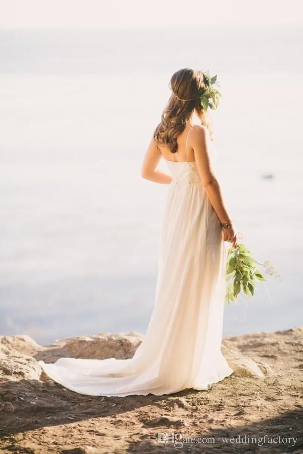 Sexy Maternity Wedding Dress Floor Length Sweep Train Cheap Beach Pregnant Bridal Gowns Spaghetti Straps Custom Made Empire