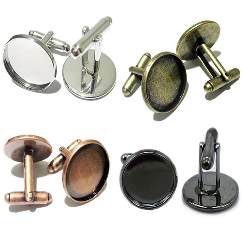 Beadsnice manschettknappar för smycken gör mässing handgjorda manschettknappar Partihandel med 16mm rund cabochonfack ID8896