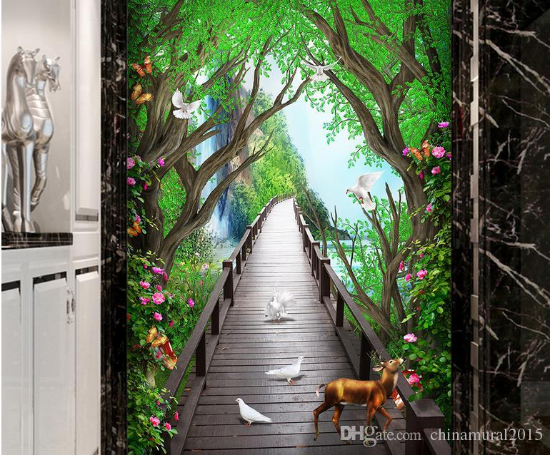 fondo de pantalla 3d para la cocina soñadora hermosa flor alces puente de madera para colorear vid wallpaper