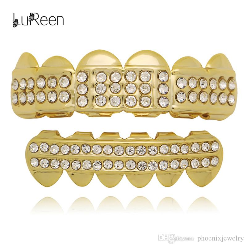 LuReen Silver 14K Gold CZ Rhinestone 6 Top and bottom Teeth Grillz Set Vampire Fangs Teeth Punk Jewelry
