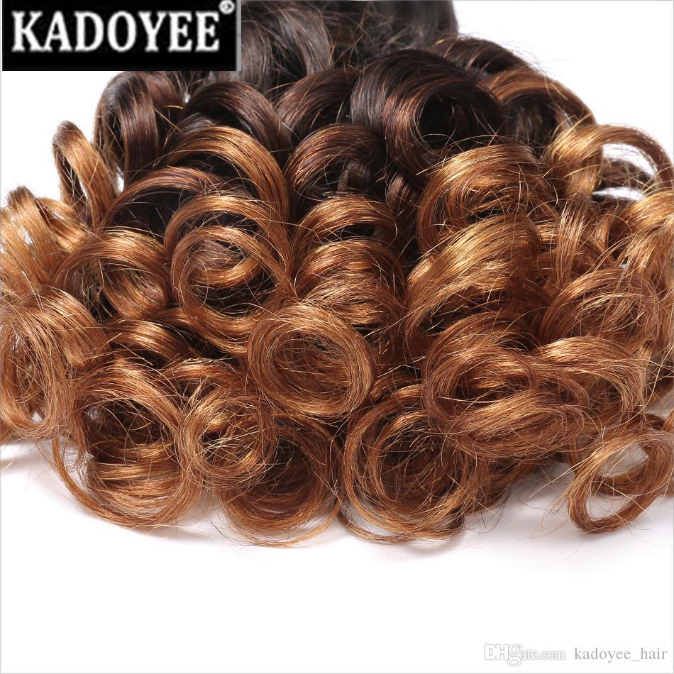 Brezilyalı Bakire Saç Örgü Kabarık Kıvırcık Örgü İnsan Saç Demetleri doğal ombre color1b / 30 Kısa Bob tarzı Saç Uzantıları Ücretsiz Nakliye