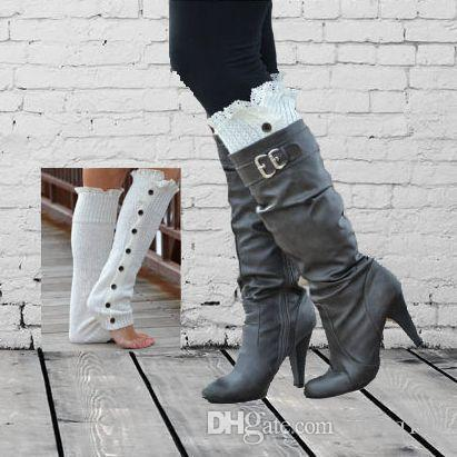 Button-Down Lace Knitted Leg Warmers Winter Warm Socks Leg Covers Long Boots Stocking Multicolor Leggings Tights HOD0904