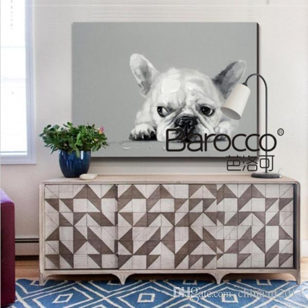 Lindo perro, pequeña mariposa, pintado a mano, pintura al óleo animal sobre lienzo, hogar moderno, decoración de la pared sin marco