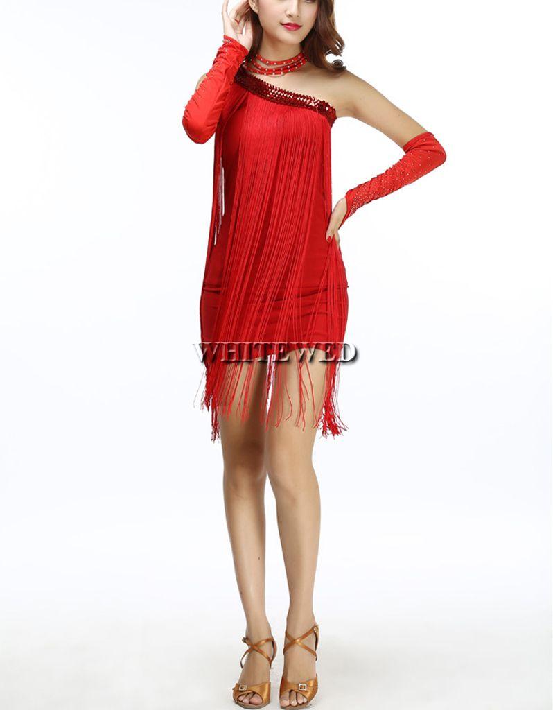 81b68eafc7a Acquista A Buon Mercato Moderno Carino Una Spalla Paillettes 1920s 20s Fringe  Flapper Ispirato Abito Da Ballo Prom Dress In Vendita Rosso Nero Blu Fuchia  A ...