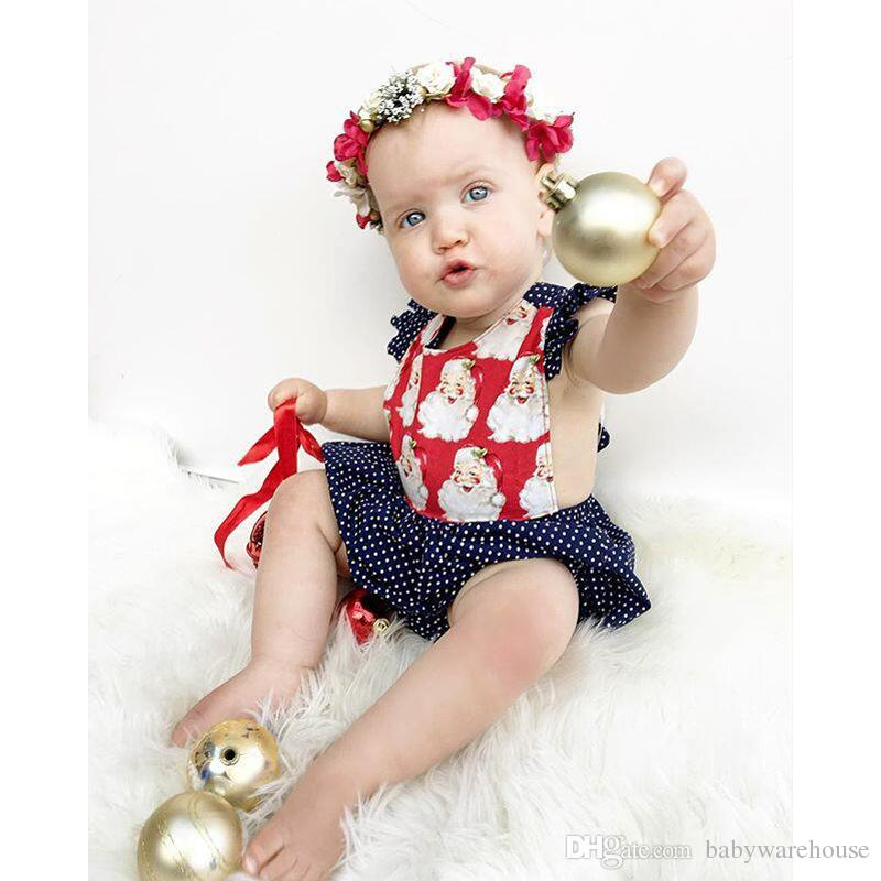 Christmas Baby Clothing Baby Girls Romper Back Cross Polka Dot Jumpsuit Cotton Baby Clothes Kids Clothing Newborn Clothes One Piece Suit