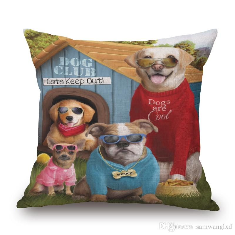Cushion Cover Chair Sofa Pillowcases Creative Handsome Seat Cushion Cover Throw Pillow Cover Cartoon Animal Photos Dog Cat