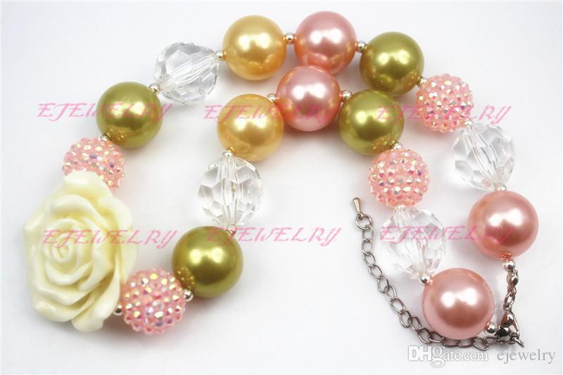 Lumière jaune Pendentif Fleur Chunky Collier et Bracelet Ensemble Rose Strass Perles Filles Bubblegum Chunky Collier CB090