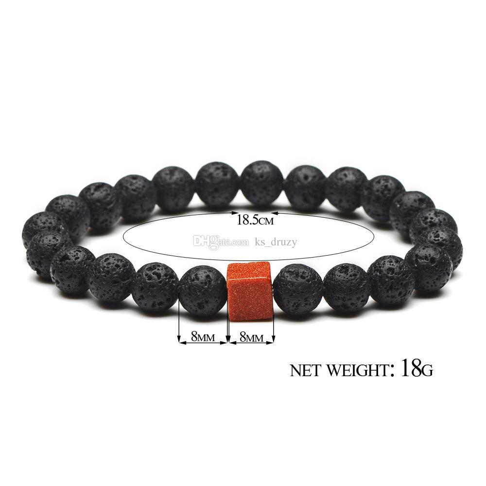 Trendy Square Golden Sand Natural Black Lava Stone Beads Elastic Bracelets In Bangles For Women Men Volcanic Rock Beaded Hand Strings