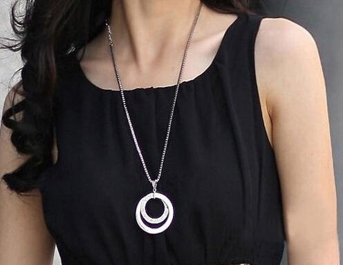 Wholesale silver long statement necklace silver double round chain wholesale silver long statement necklace silver double round chain crystal rhinestone sweater chain long chain pendant necklace dhl locket necklace mens aloadofball Choice Image
