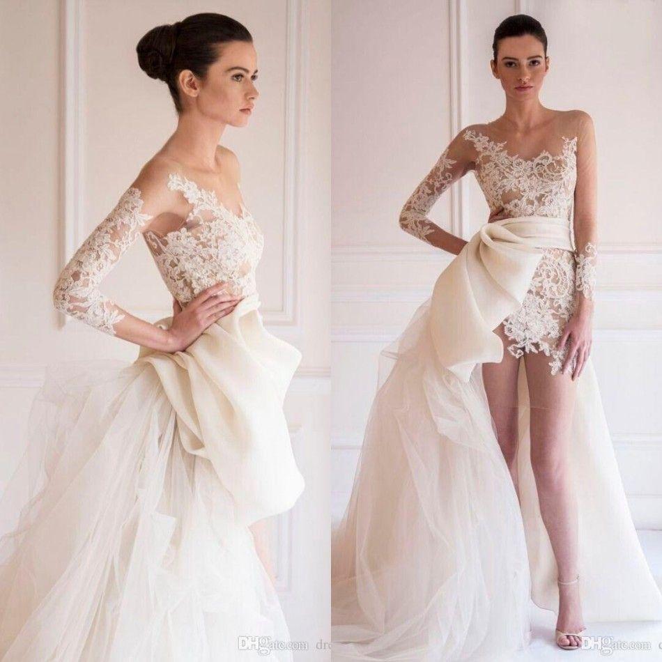 8b89d3bf679 Masion Yeya Lace Mini Wedding Dresses Sheer Illusion Long Sleeves Appliques  Backless With Detachable Train Organza Beach Bridal Gowns BA195 Wedding  Dress ...
