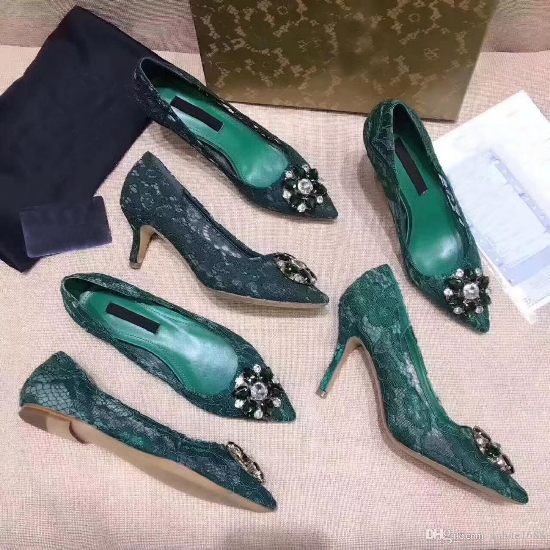 Women Embroidery Pumps In Taormina Lace With Crystals Dress Court Single Shoes Flat/6cm/9cm Heels Slippers Sandals Original Box