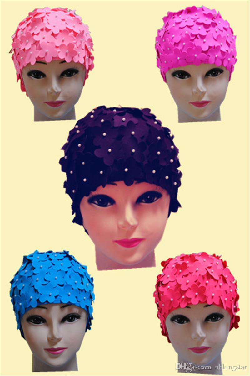 Женский лепесток цветок винтажный стиль плавание шляпа шапка большой размер 6 цветов Бесплатная доставка