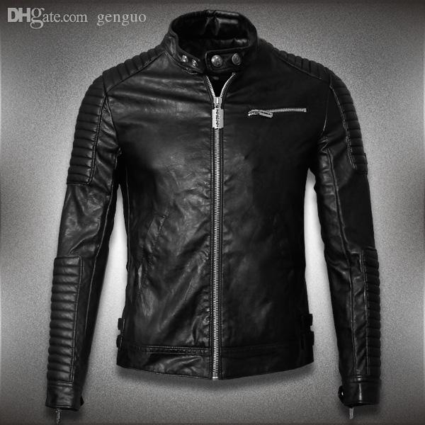 Mens Genuine Lambskin Leather Jacket Slim Fit Motorcycle Jacket P110 Leather Faux Leather