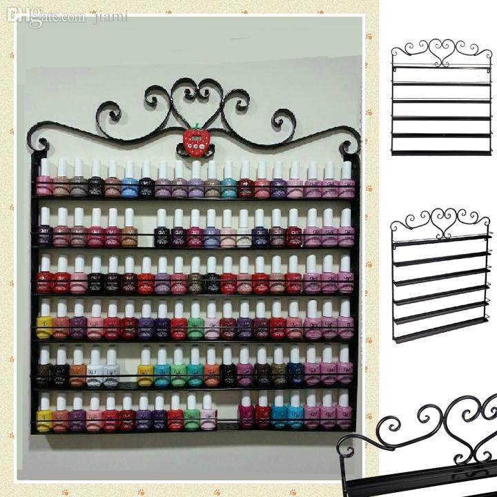 Wholesale Heart Black Metal Nail Polish Display Wall Rack Fit Up To ...