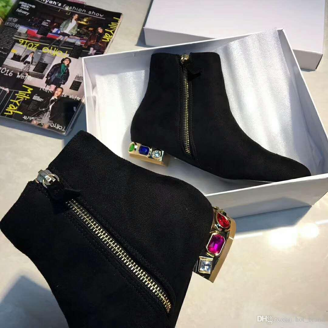 Brand New Women Short Boots Fashion Suede Black Pointy Toe Women Motorcycle Boots Female Martin Booties Crystals Thick Low Heels Female 40