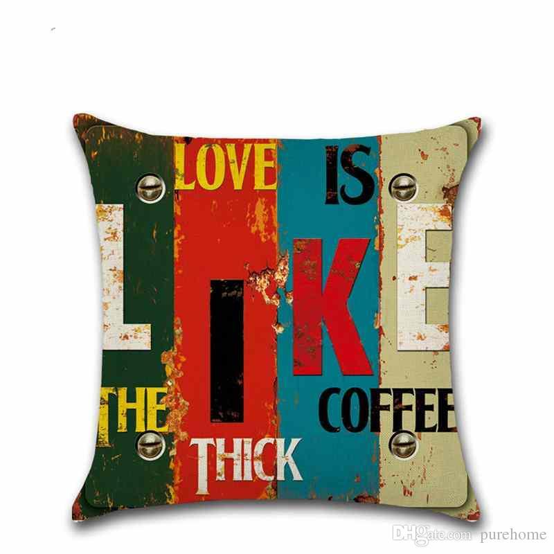 Mediterranean Style Proverbs Home Love Linen Pillow Case Sofa Cushion Cover 45*45CM Home Cafe Office Decor Gift for Housewarming Party