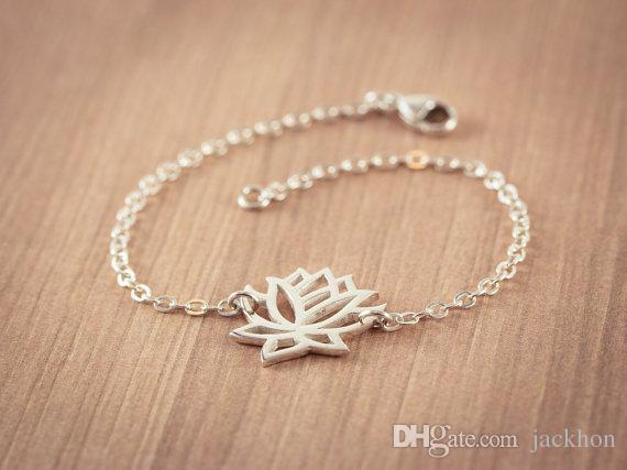 30 шт.-B013 мода золото серебро Лотос браслеты крошечные Лотос цветок браслеты для выпускного вечера йога лепесток браслеты для свадебные подарки