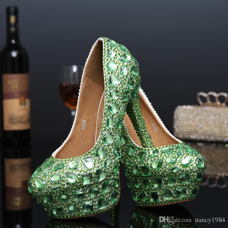 Tacco a spillo tacco alto con plateau e scarpe da sposa verde cristallo con tacco alto e scarpe da sera di lusso