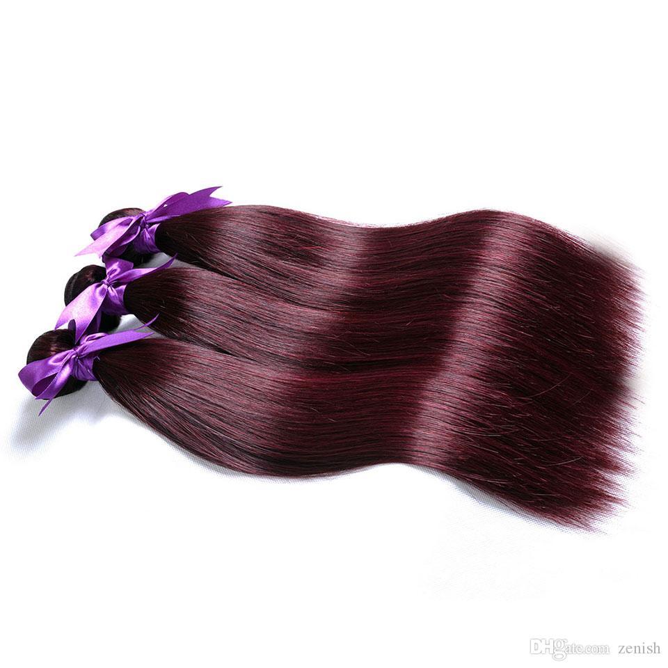 Borgogna 99j capelli brasiliani fasci dritti estensioni dei capelli rossi tessere i capelli umani 12-26 pollici trama spessa 3 o 4 fasci