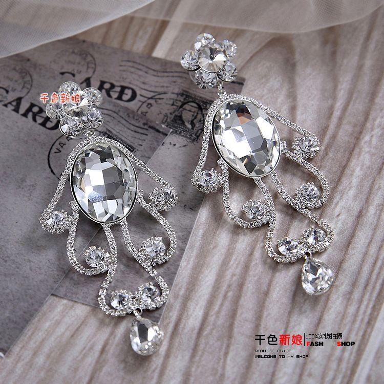 Hot Sale Crystal Bead CZ Diamond Wedding Earrings Silver Sterling Stud Earring For Women Wedding Accessories Pageant Jewelry Eardrop Cheap