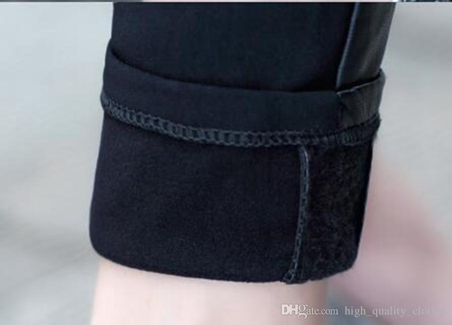 새로운 벨벳 짙어지면서 따뜻한 겨울 쇼 얇은 탄성베이스 꽉 가죽 바지를 추가 할 한 판 정통 패션. S - 2xL