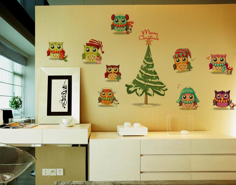 Owls Christmas Wall Decal Sticker Cute Christmas Tree Wall Art Mural Decor Poster Store Window Home Wall Applique