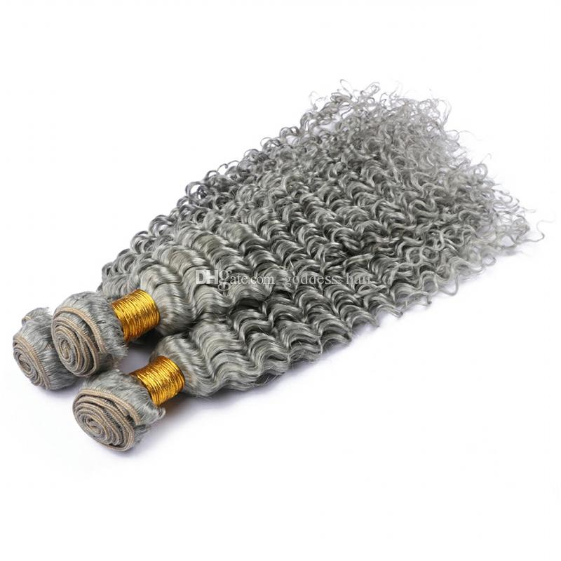 Astilla gris profundo Wave 13x4 encaje Forntal con cabello humano Teje gris profundo cabello rizado con oreja a oreja