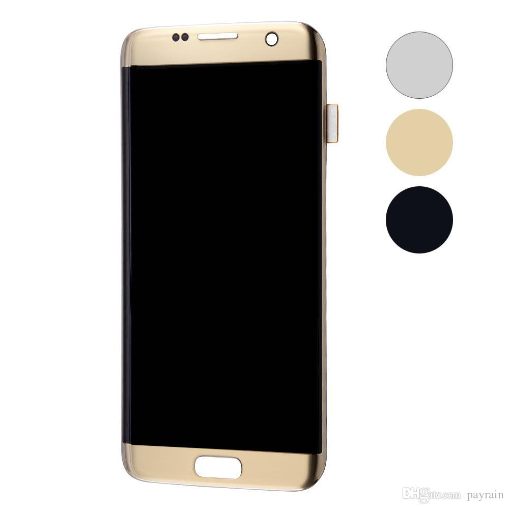 Wholesale-Black White Silver Gold Pink Coral Blue Display For Samsung Galaxy S7 Edge G935 G935F LCD Screen Touch Digitizer Frame Assembly